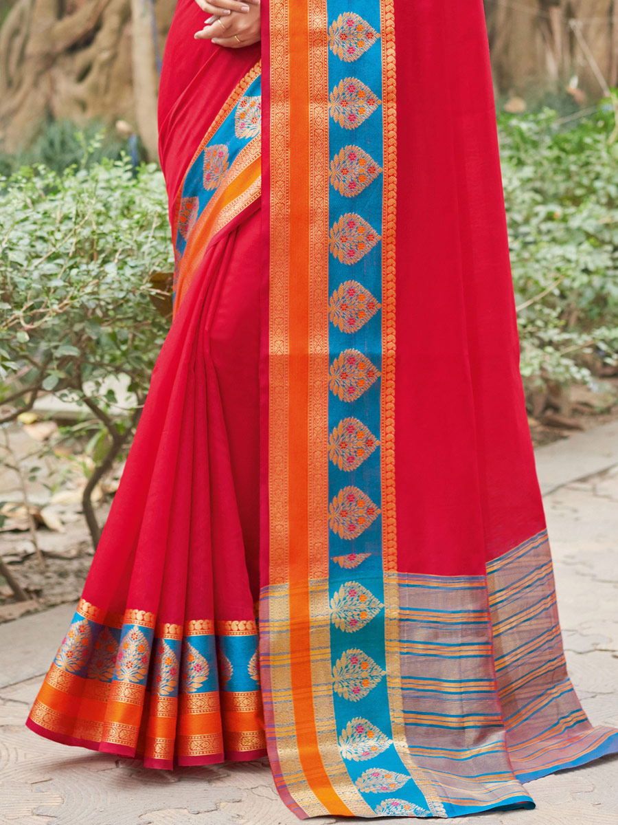 Crimson Red Silk Handwoven Party Saree