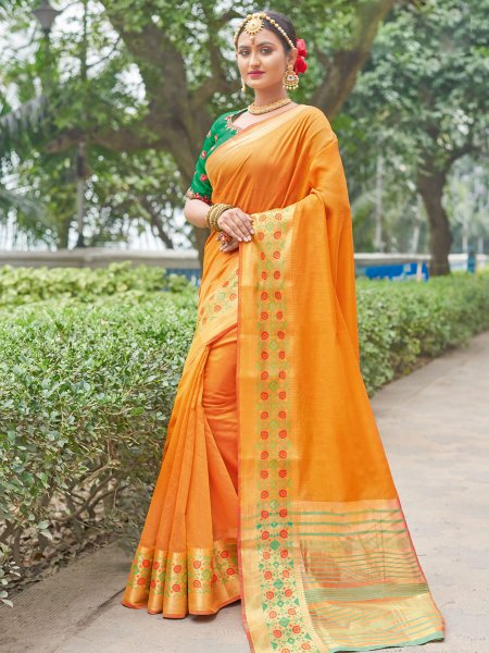 Amber Orange Silk Handwoven Party Saree