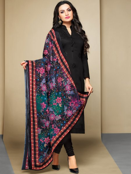 Black Cotton Embroidered Festival Churidar Pant Kameez