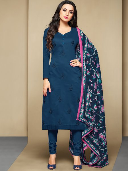 Yale Blue Cotton Embroidered Festival Churidar Pant Kameez