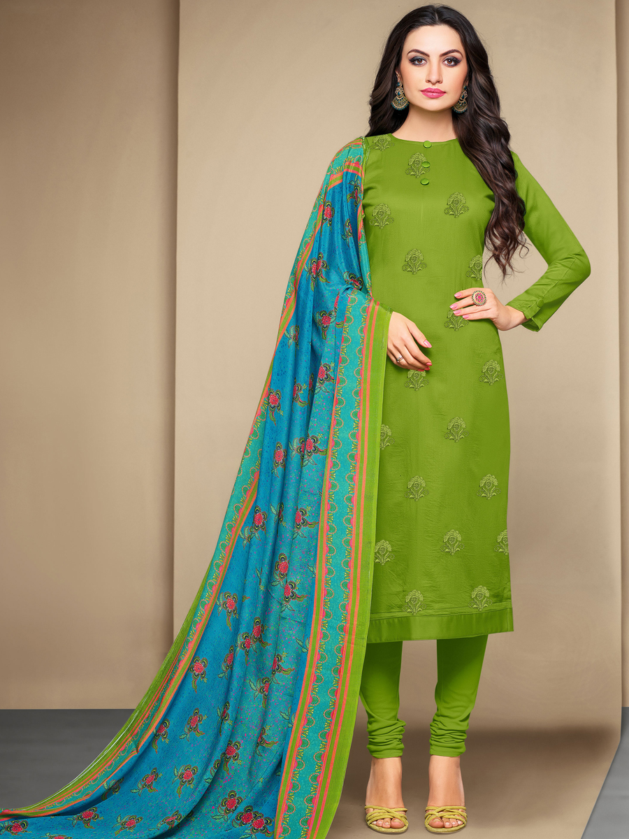Parrot Green Cotton Embroidered Festival Churidar Pant Kameez