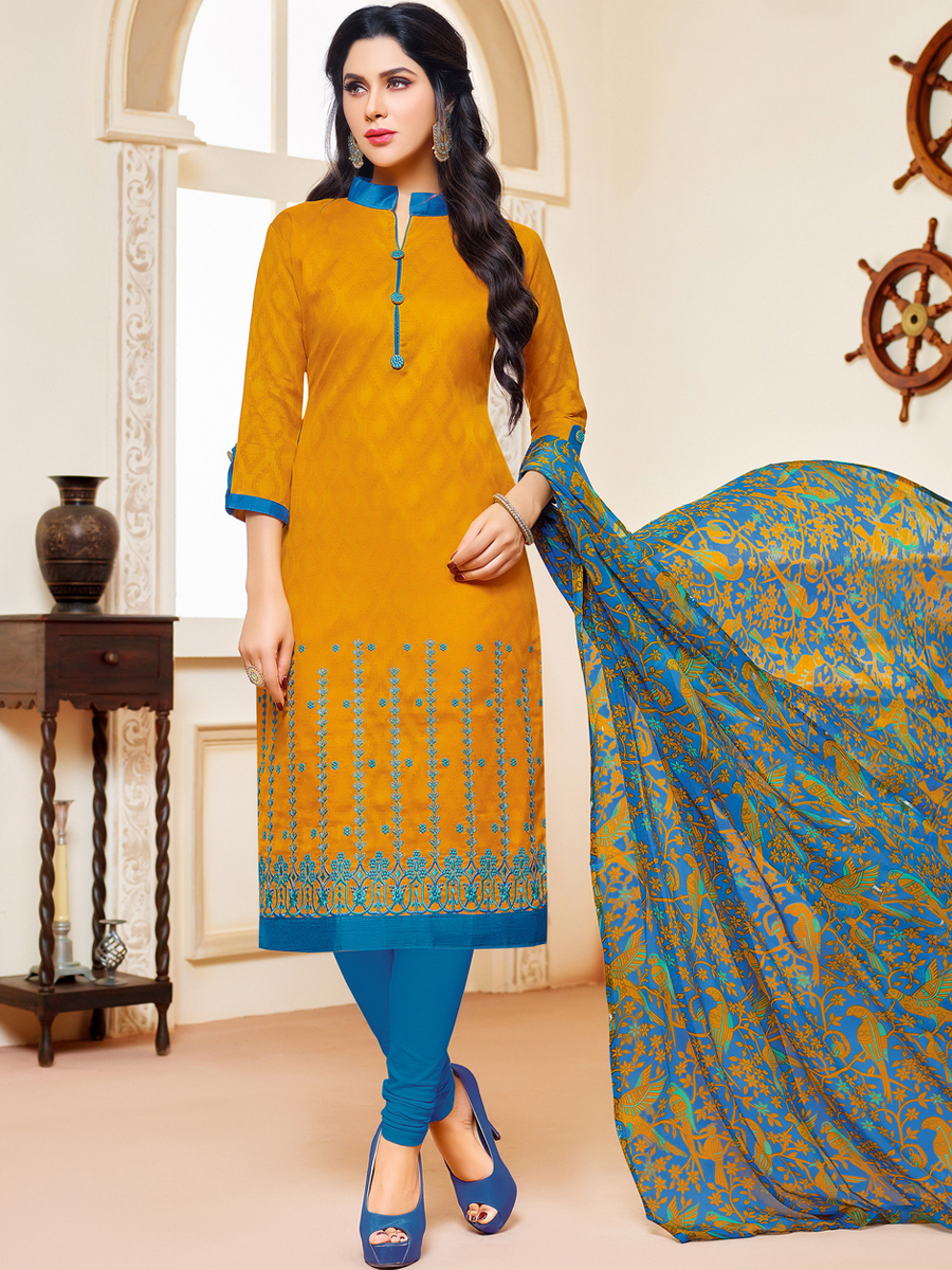 Pumpkin Orange Jacquard and Cotton Embroidered Party Churidar Pant Kameez