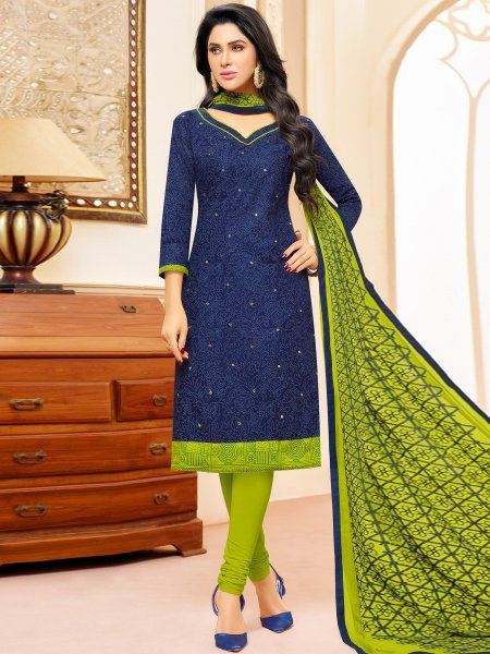 Navy Blue Cotton Printed Casual Churidar Pant Kameez