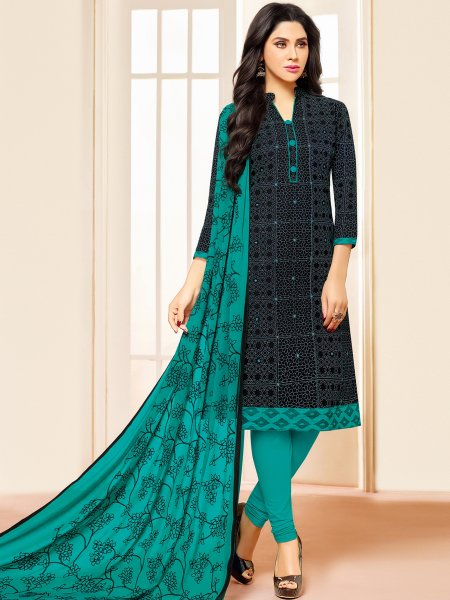 Black Cotton Printed Casual Churidar Pant Kameez