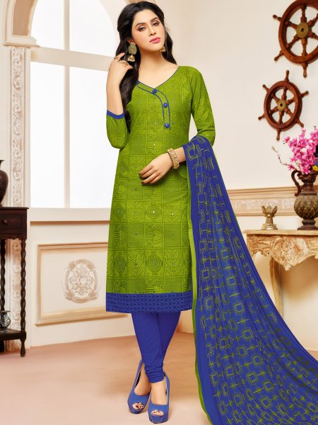 Parrot Green Cotton Printed Casual Churidar Pant Kameez