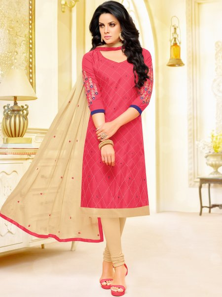 Brink Pink Cotton Embroidered Festival Churidar Pant Kameez