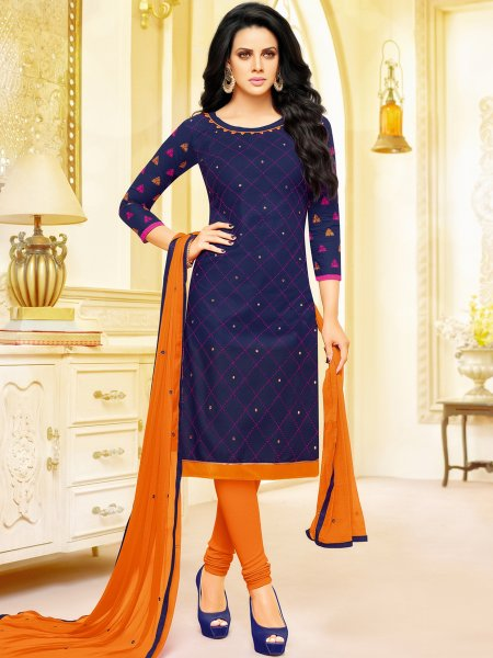 Navy Blue Cotton Embroidered Festival Churidar Pant Kameez