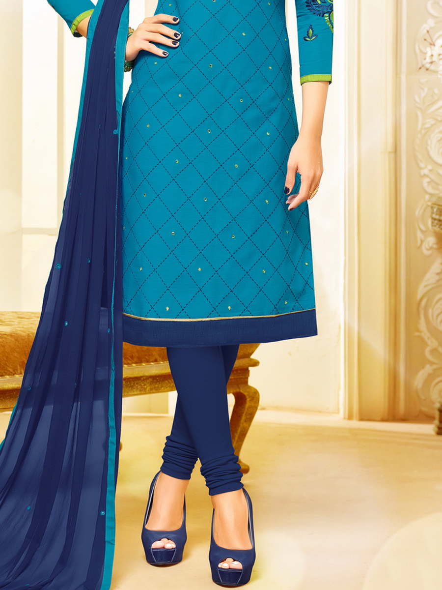Deep Sky Blue Cotton Embroidered Festival Churidar Pant Kameez