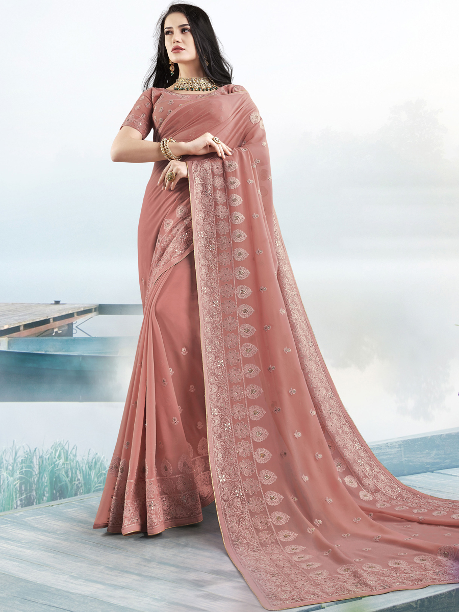 Dark Coral Pink Faux Georgette Embroidered Festival Saree