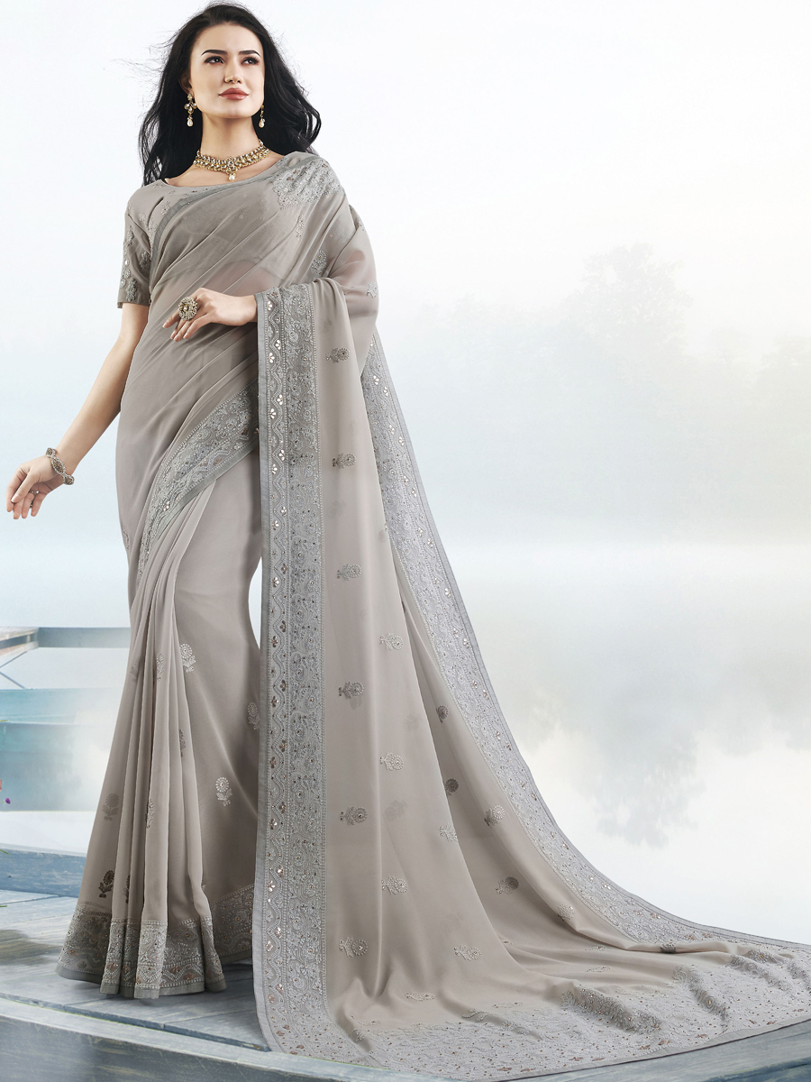 Gray Faux Georgette Embroidered Festival Saree
