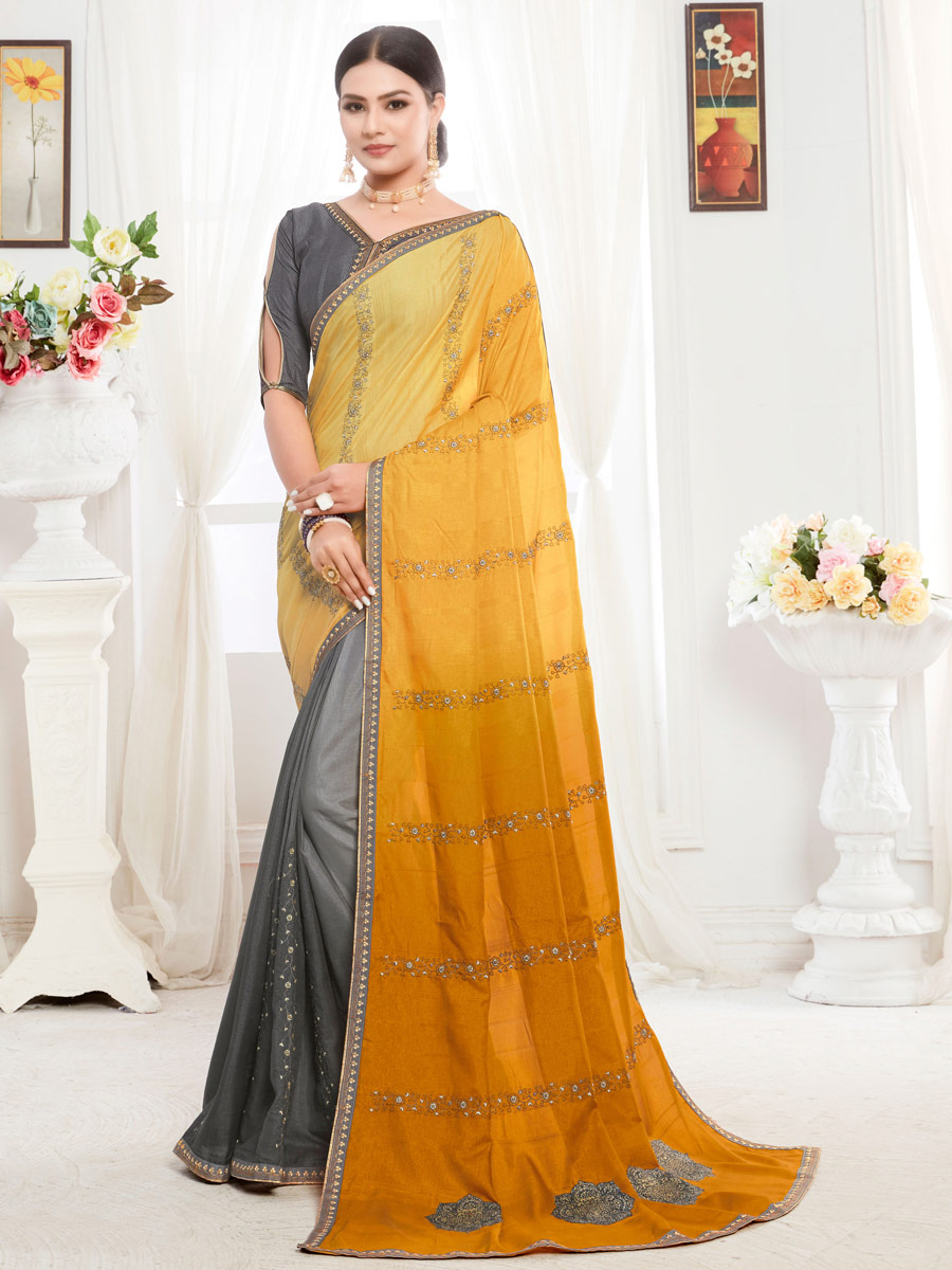 Amber Orange and Gray Tussar Silk Embroidered Party Saree