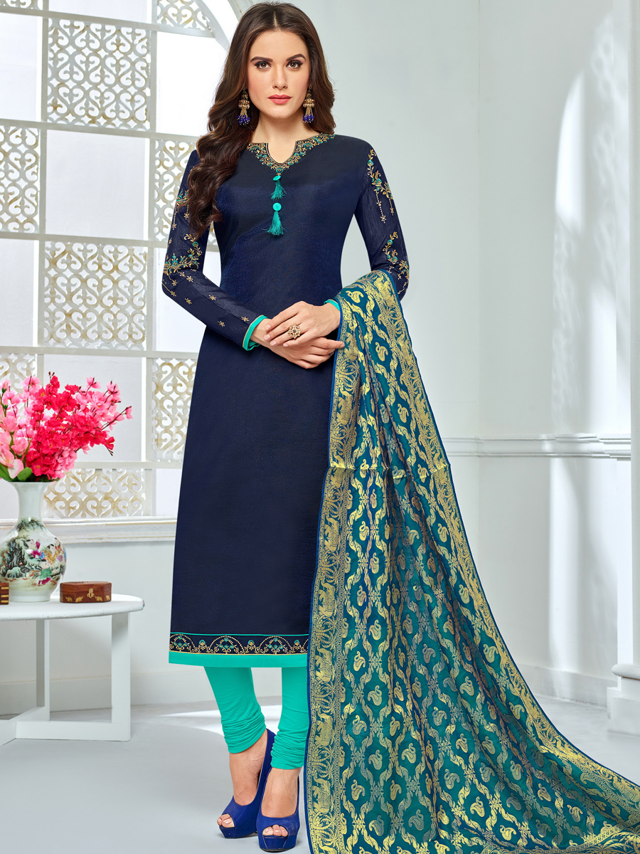 Navy Blue Chanderi Cotton Embroidered Festival Churidar Pant Kameez