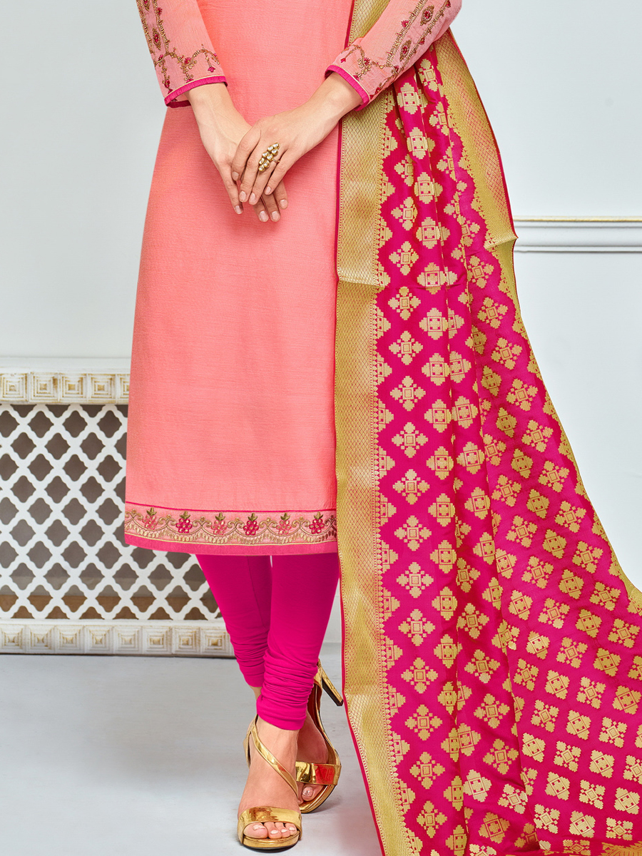 Coral Pink Chanderi Cotton Embroidered Festival Churidar Pant Kameez