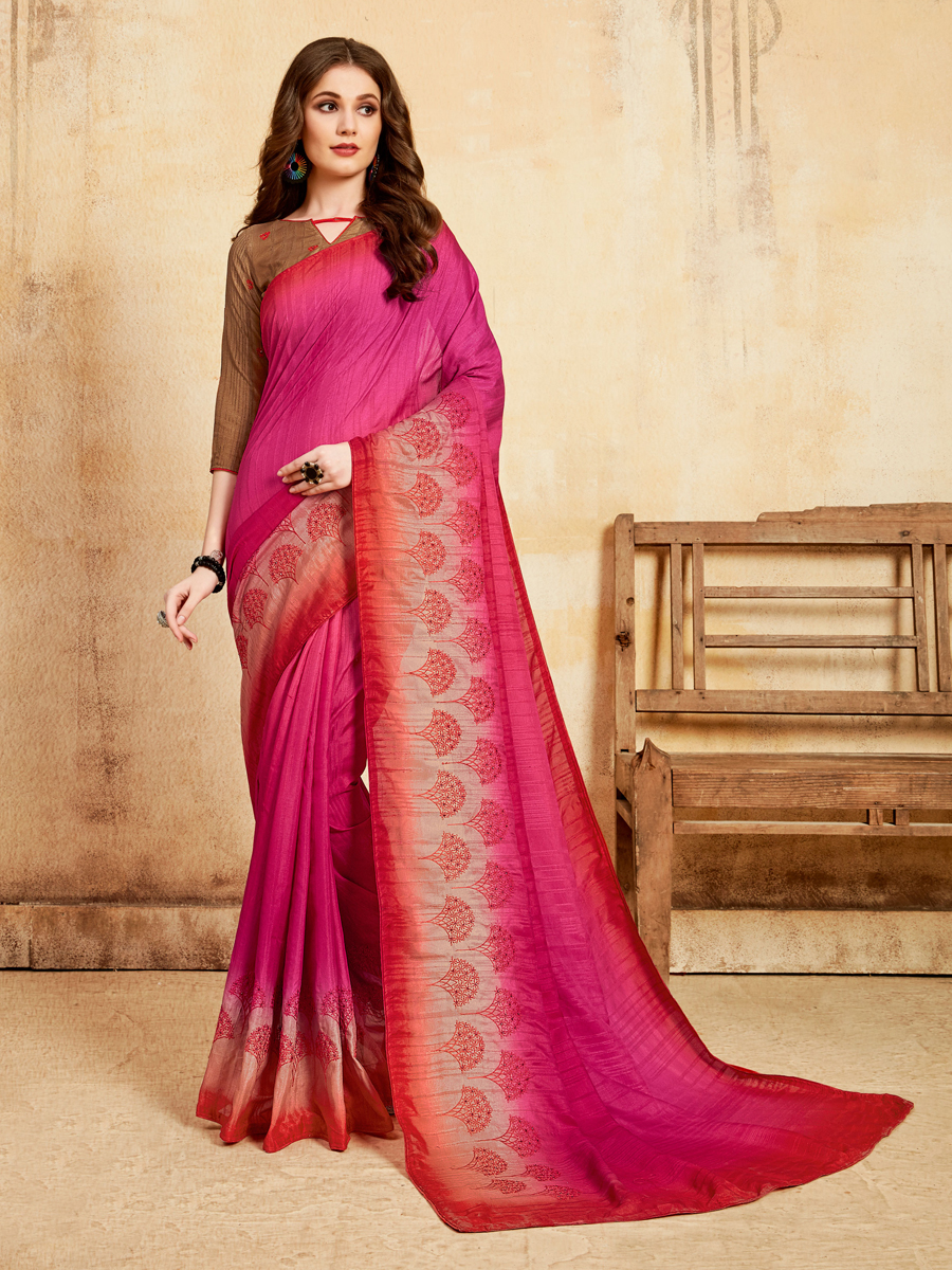 Cerise Pink Silk Embroidered Party Saree
