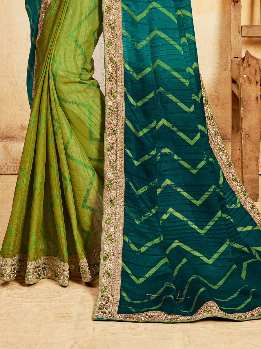 Teal Green and Olive Drab Green Silk Printed Party Saree