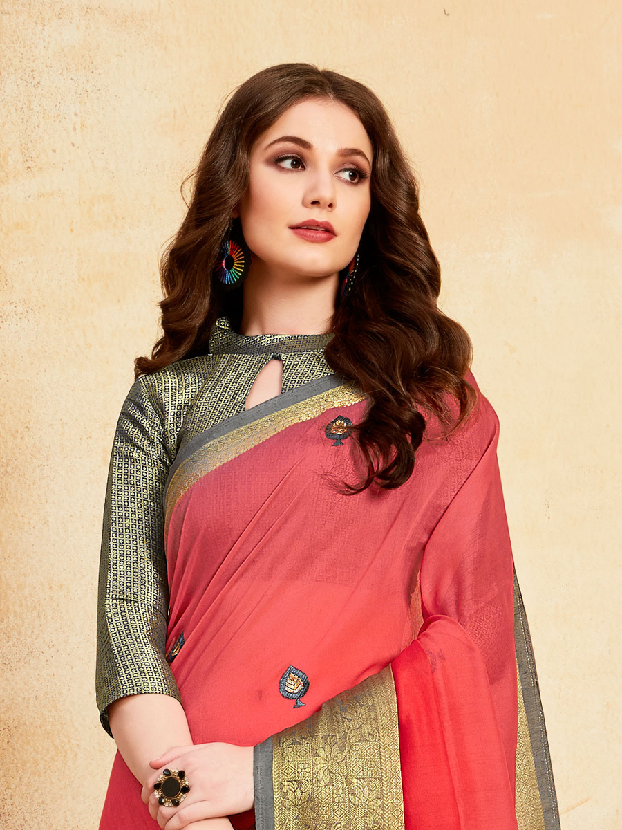 Brink Pink Silk Embroidered Party Saree
