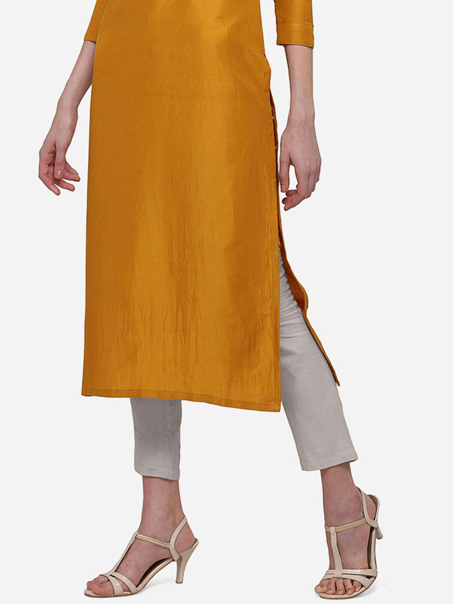 Carrot Orange Muslin Embroidered Party Kurti
