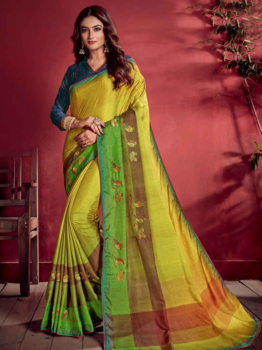Pear Green Tussar Silk Embroidered Party Saree