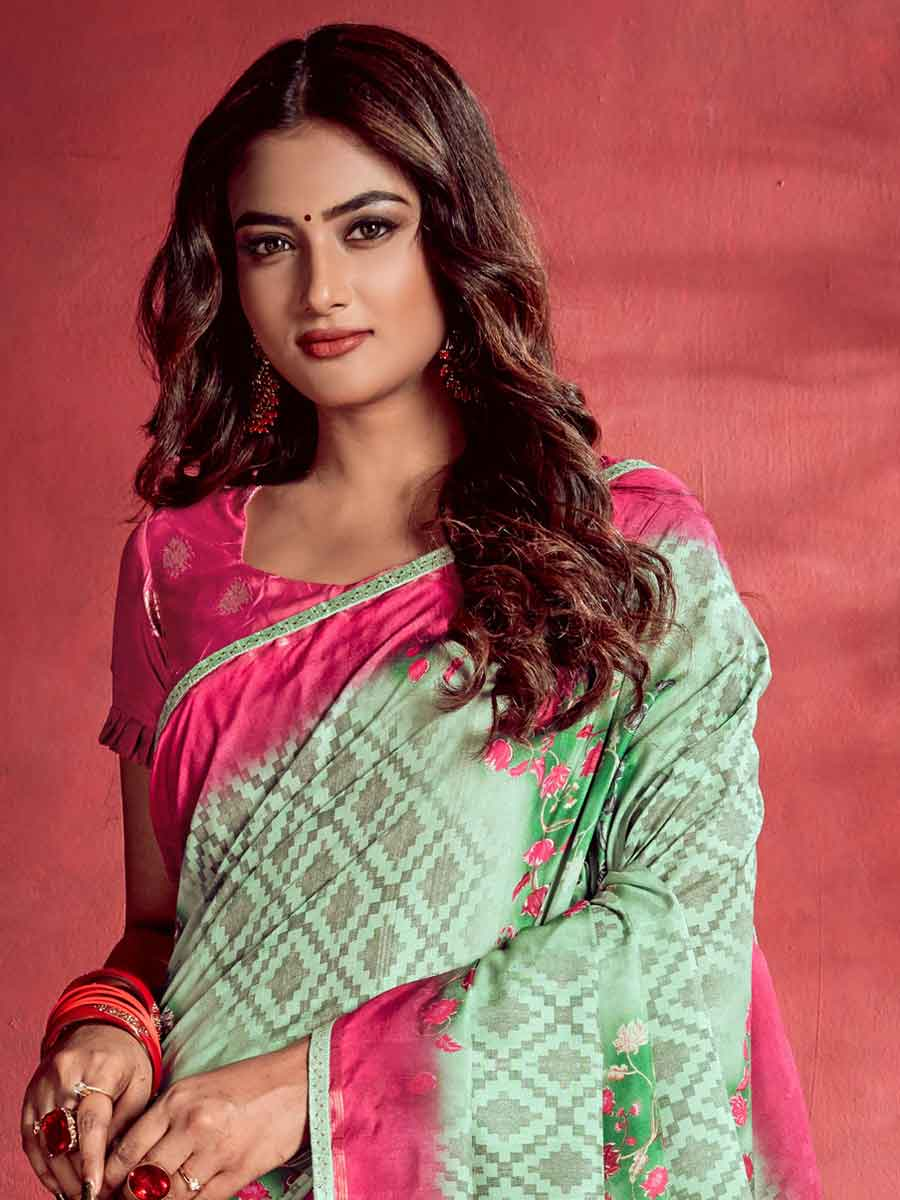 Celadon Green and Cerise Pink Tussar Silk Printed Party Saree
