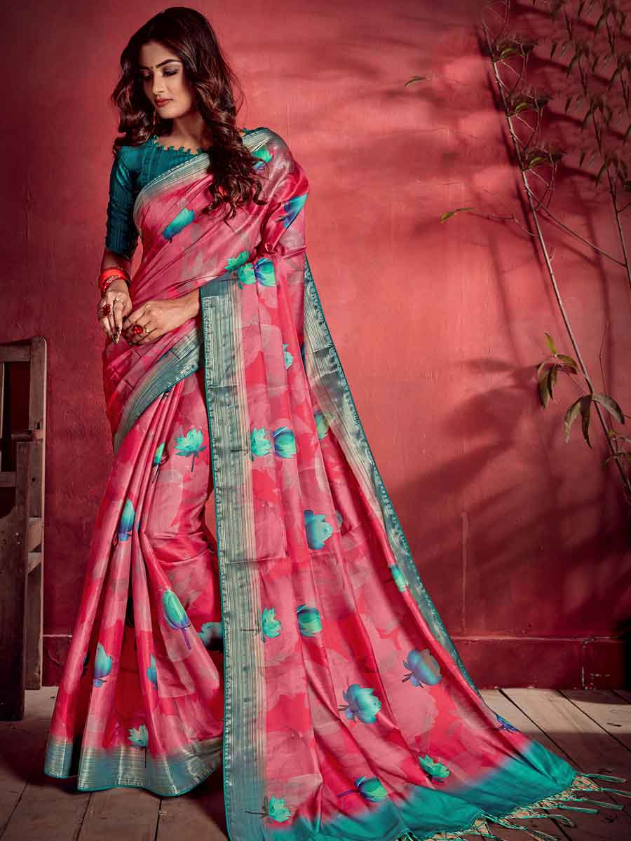 Cerise Pink Tussar and Satin Printed Party Saree