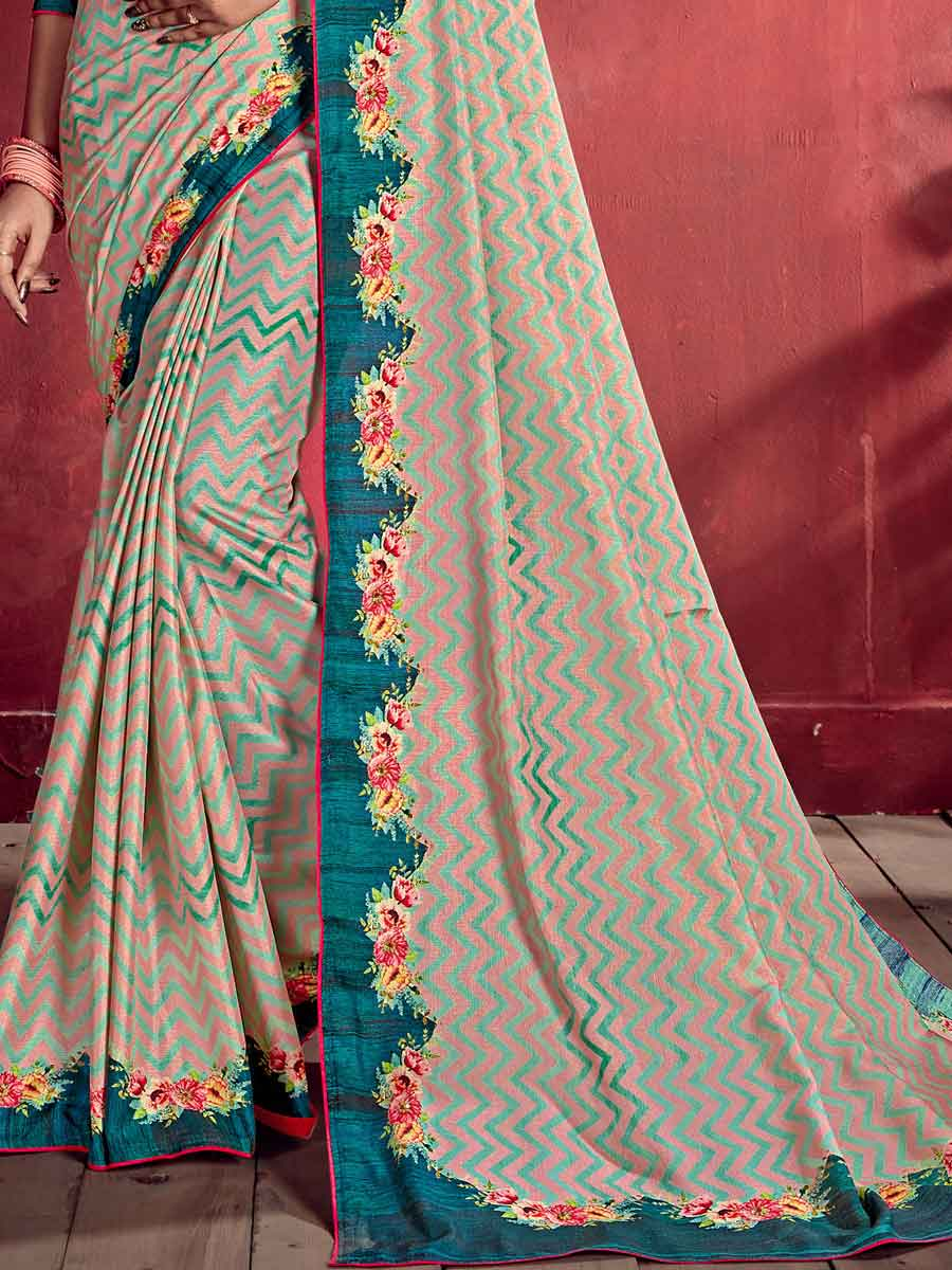 Light Pink and Teal Green Tussar Silk Printed Party Saree
