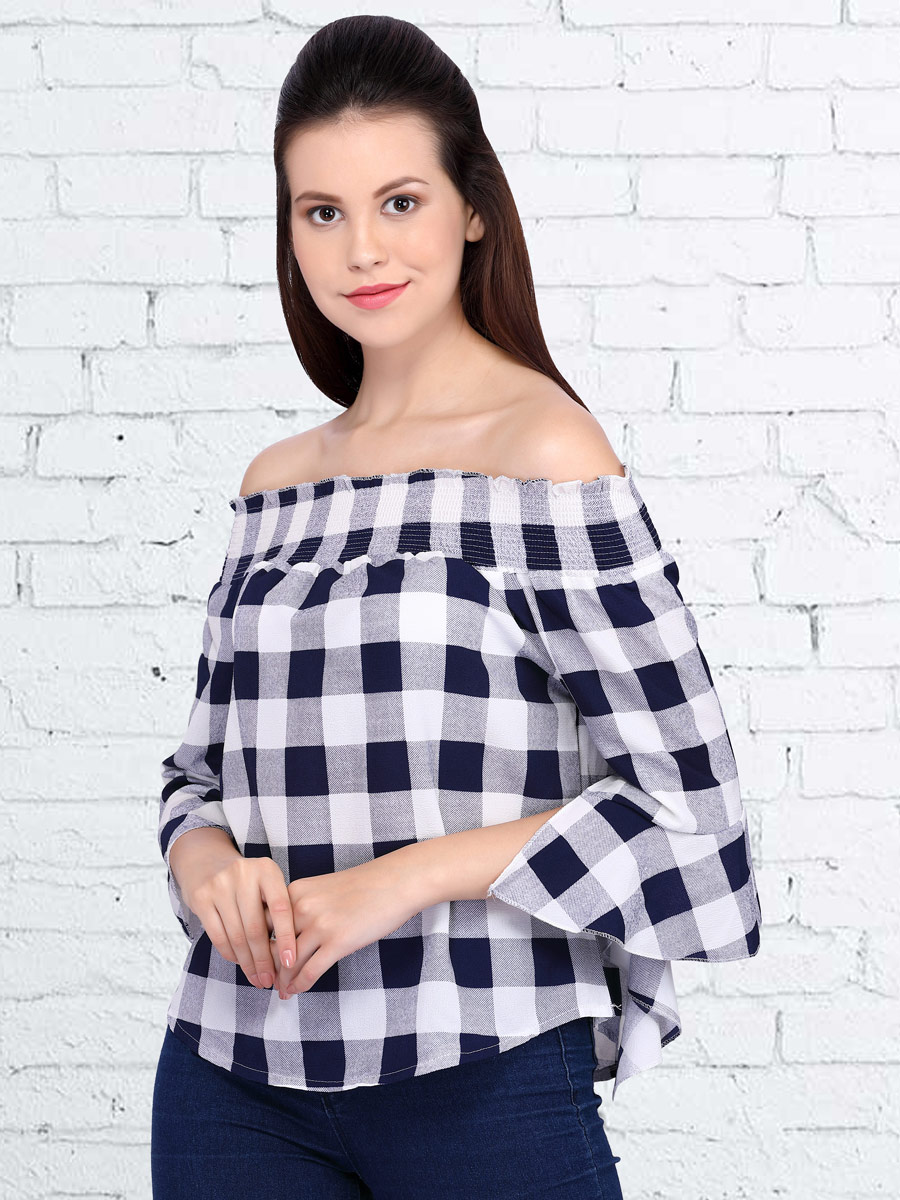 White and Navy Blue Polyster Printed Casual Top