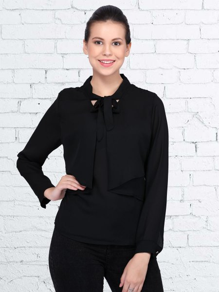 Black Polyster Plain Casual Top