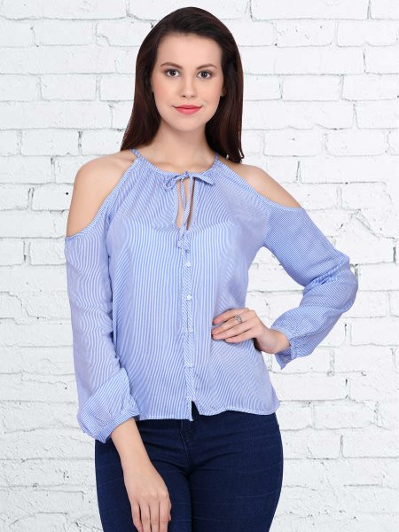 Light Blue Cotton and Polyster Plain Casual Top