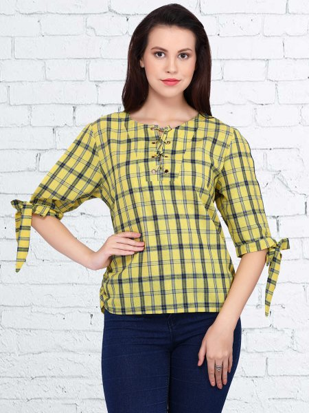 Maize Yellow and Navy Blue Cotton and Polyster Printed Casual Top