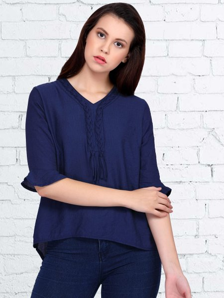 Navy Blue Polyster Plain Casual Top