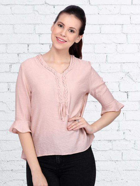 Coral Pink Polyster Plain Casual Top