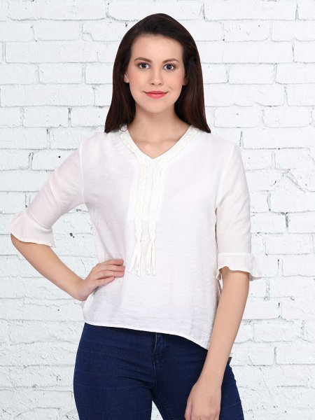 White Polyster Plain Casual Top