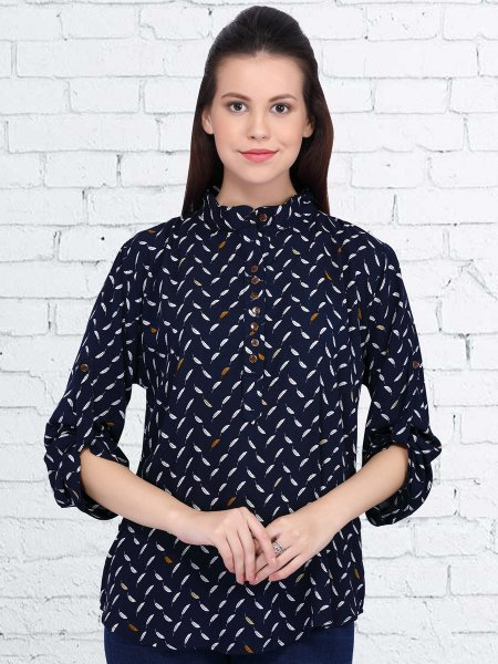 Navy Blue Rayon Printed Casual Top