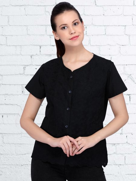 Black Cotton Plain Casual Top
