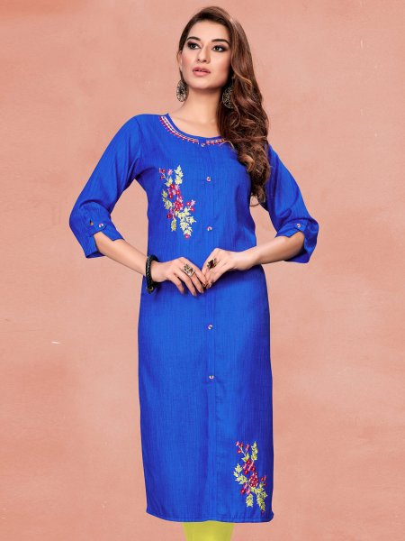 Dark Blue Cotton Embroidered Party Kurti