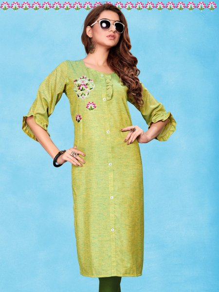 Light Green Cotton Embroidered Party Kurti