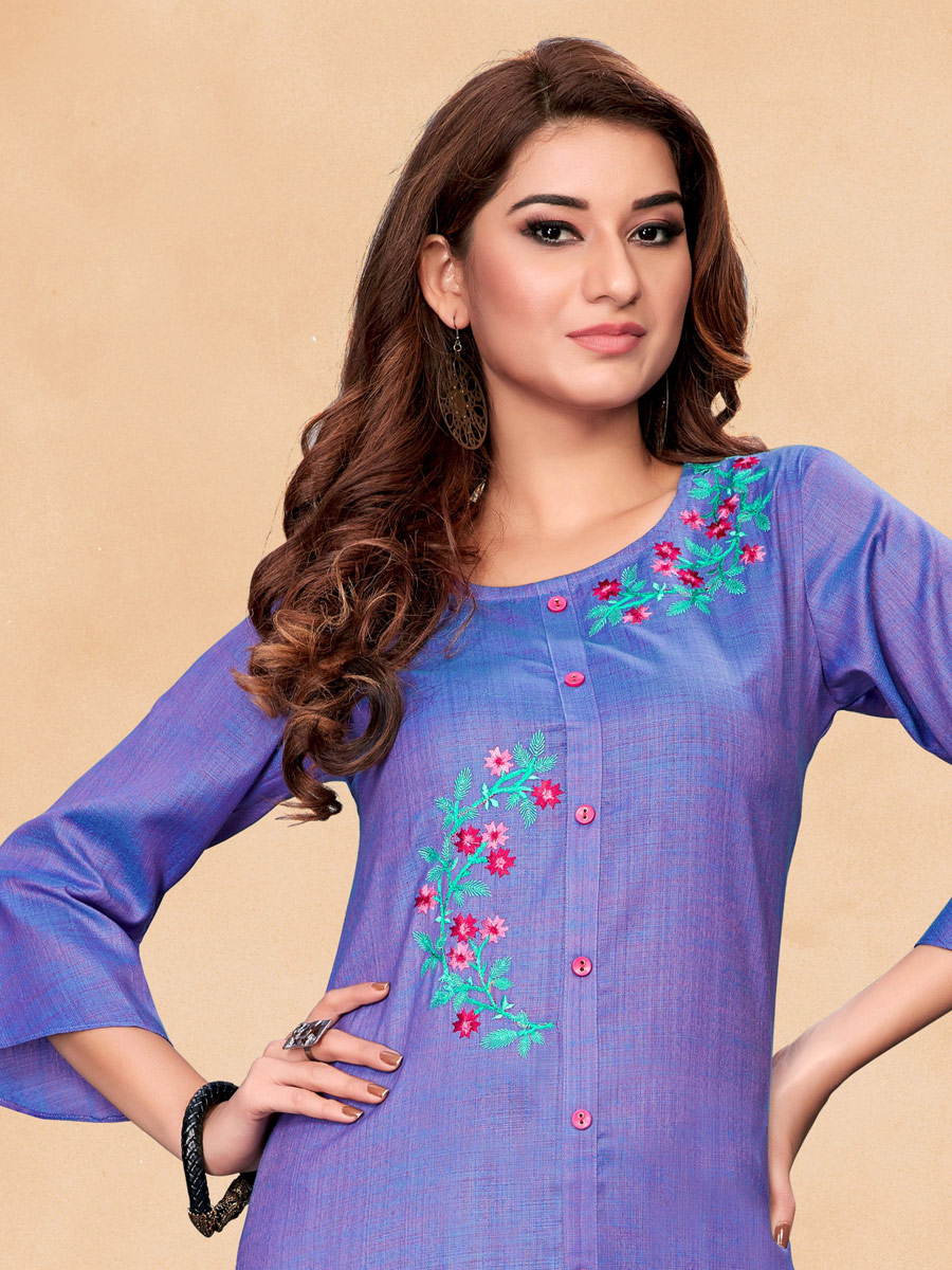 Purple Cotton Embroidered Party Kurti