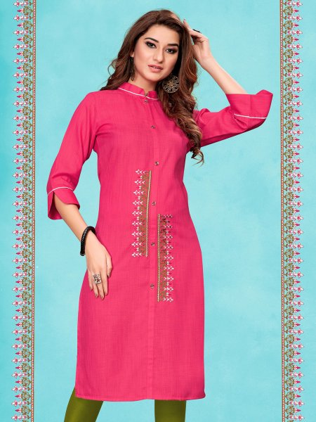 Cerise Pink Cotton Embroidered Party Kurti
