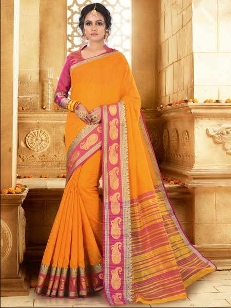 Amber Orange Khadi Silk Handwoven Festival Saree