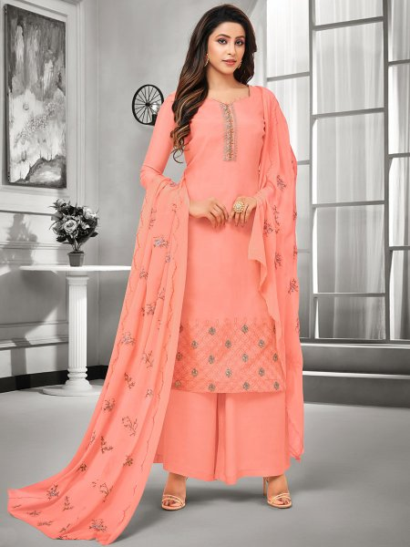 Coral Pink Muslin Silk Embroidered Casual Palazzo Pant Kameez