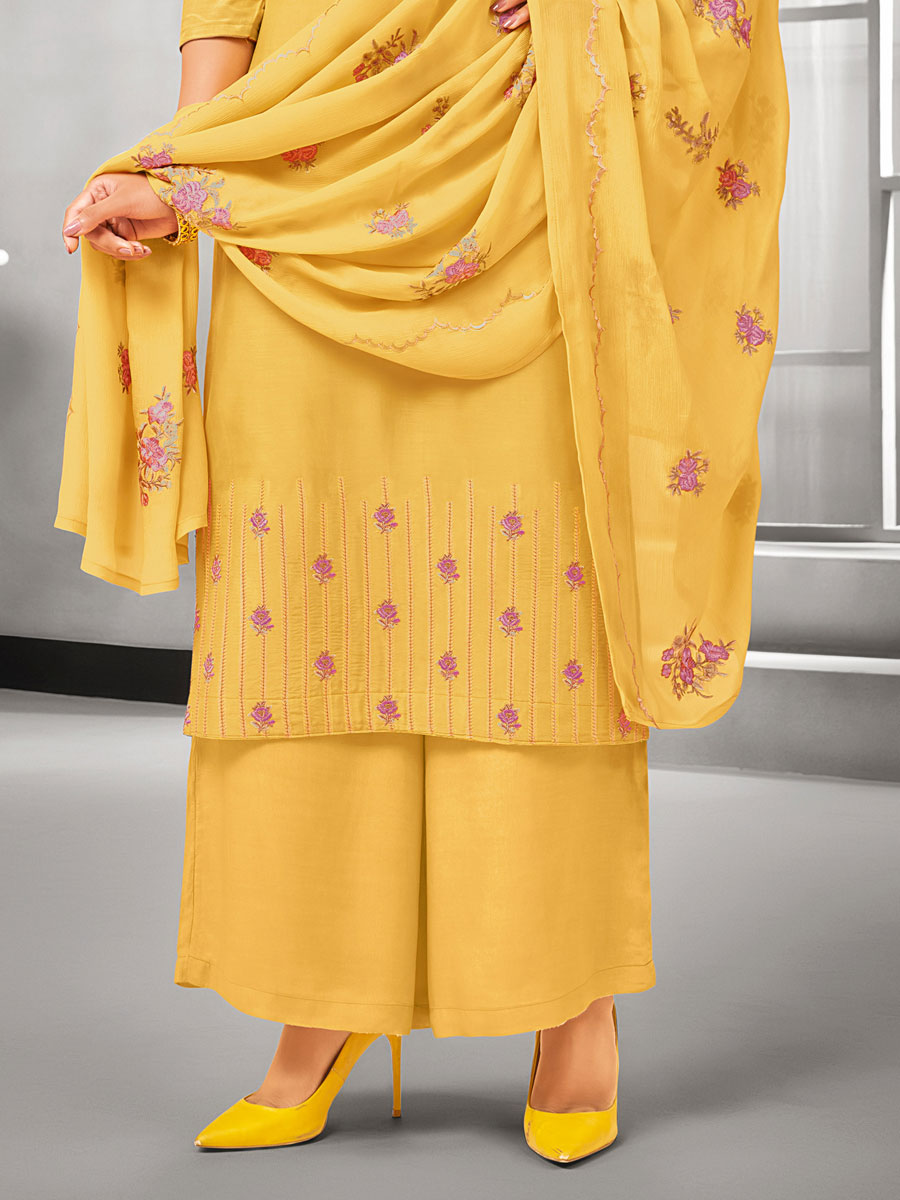 Mustard Yellow Muslin Silk Embroidered Casual Palazzo Pant Kameez