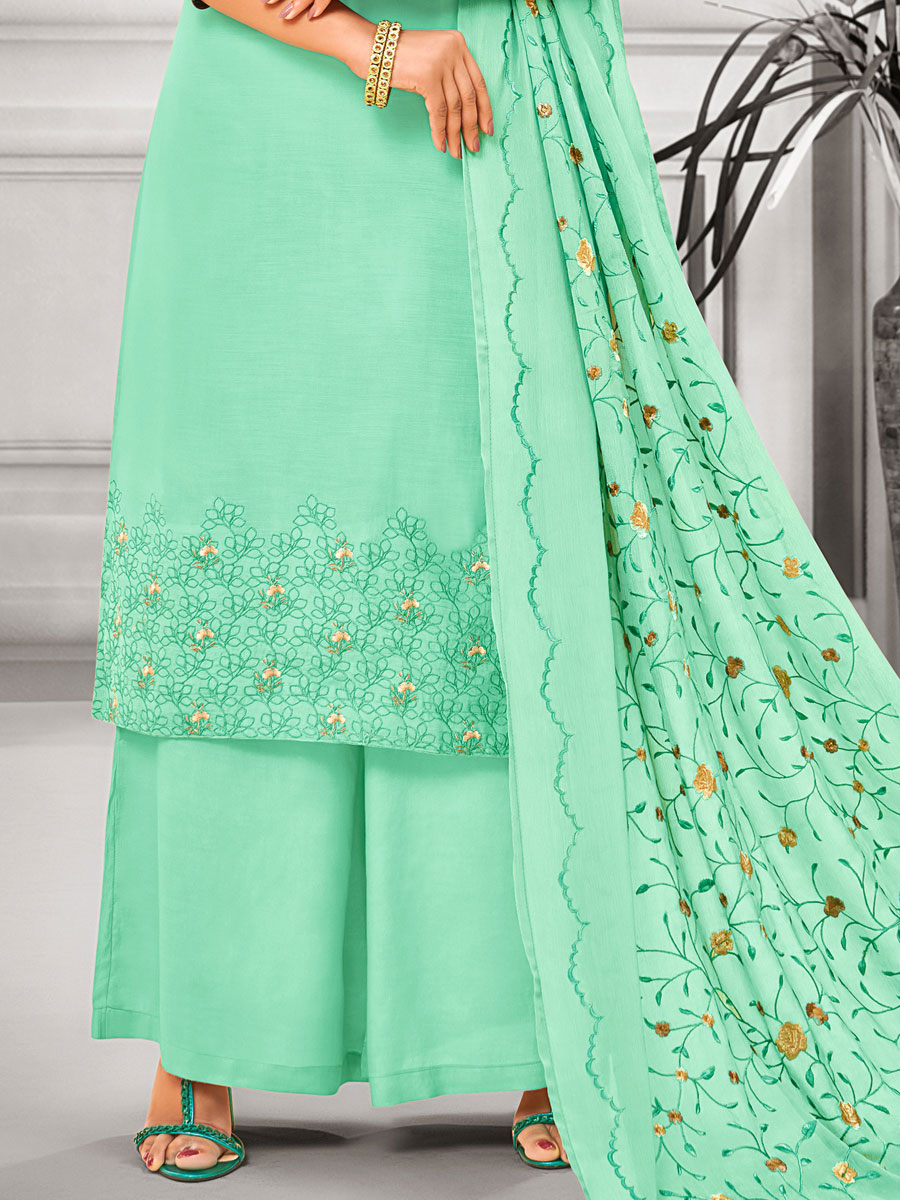 Light Jungle Green Muslin Silk Embroidered Casual Palazzo Pant Kameez