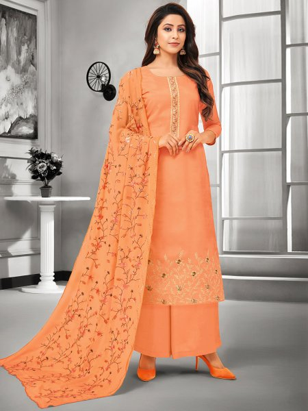 Salmon Orange Muslin Silk Embroidered Casual Palazzo Pant Kameez