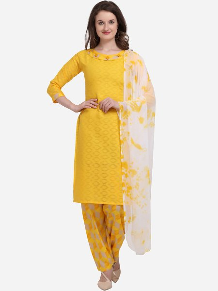 Saffron Yellow Cotton Printed Casual Salwar Pant Kameez