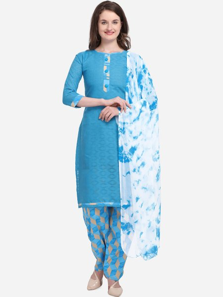Sky Blue Cotton Printed Casual Salwar Pant Kameez
