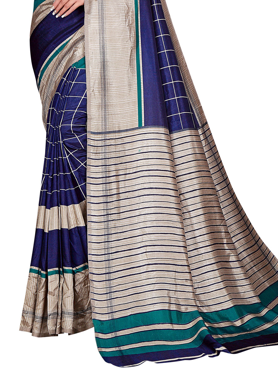 Navy Blue and Cream Yellow Art Silk Printed Casual Saree