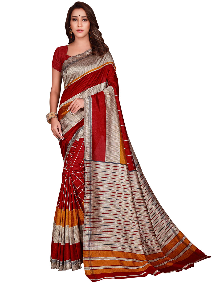 Venetian Red and Cream Yellow Art Silk Printed Casual Saree