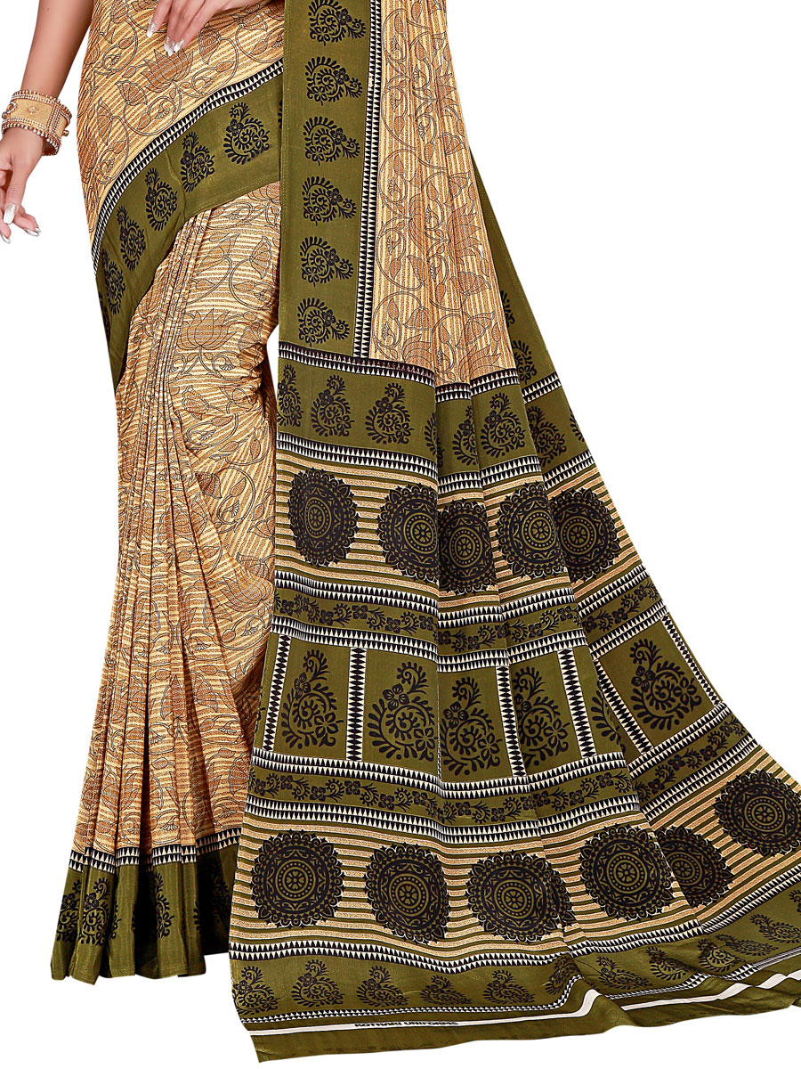 Beige Yellow and Army Green Crepe Printed Casual Saree