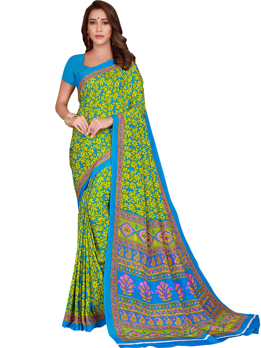 Sky Blue and Parrot Green Crepe Printed Casual Saree