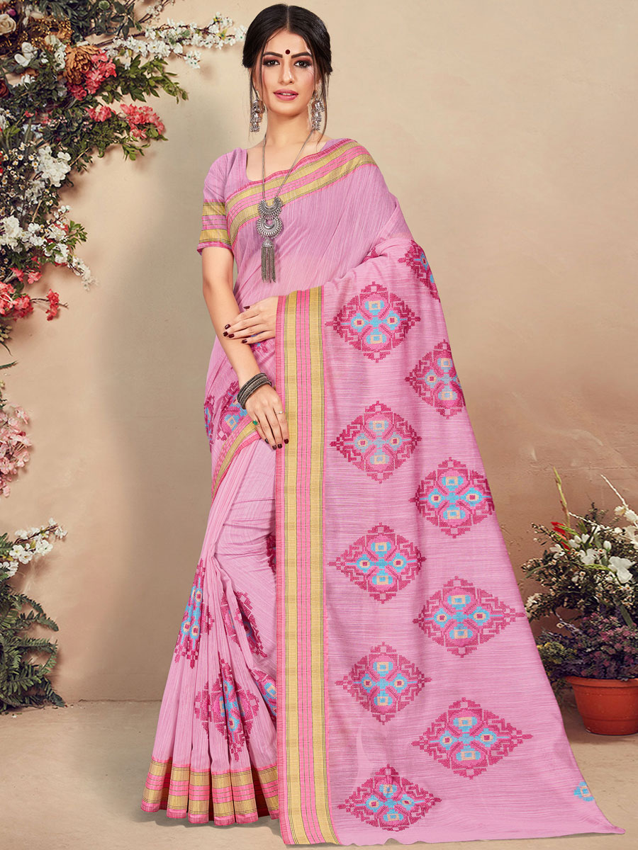 Salmon Pink Cotton Handwoven Festival Saree